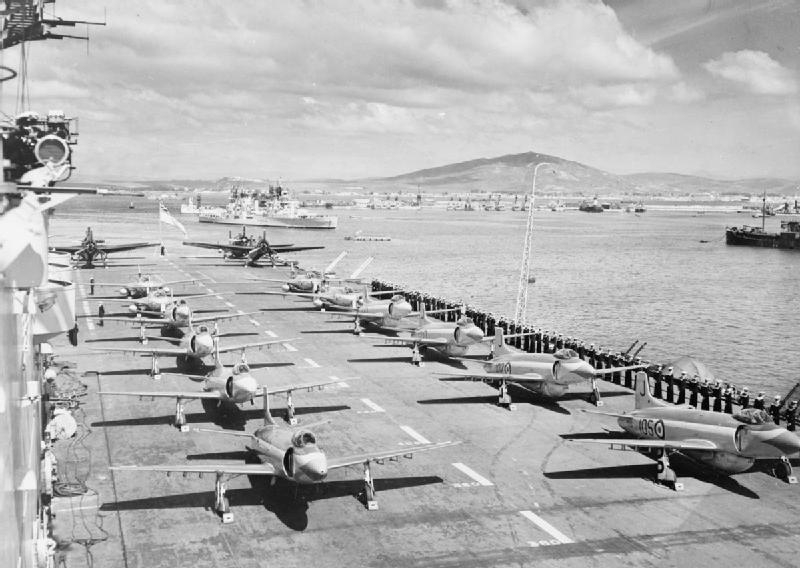 File:HMS Eagle (R05) flight deck at Gibraltar c1953.jpg