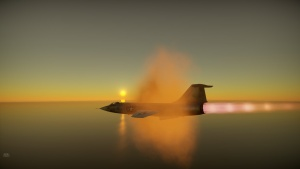 F-104 Starfighter breaks the soundbarrier at sunset with its afterburner roaring