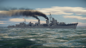 Shimakaze seen from the broadside in-game