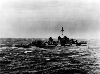 Featured Image: Historical image of USS Bennion underway on 13 January 1945.