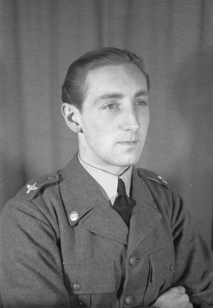 grayscale image of Ian Iacobi wearing his uniform, captured in 1940.