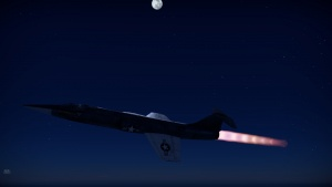 F104A Starfighter flying with a full afterburner on a clear starry night (in-game screenshot)