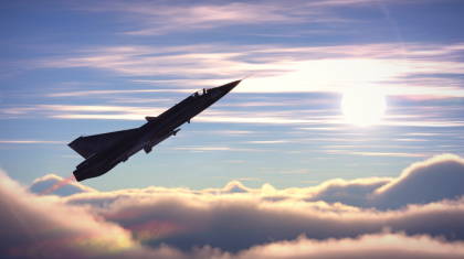 A J35D, shadowed by sunlight, climbs above the clouds to intercept.